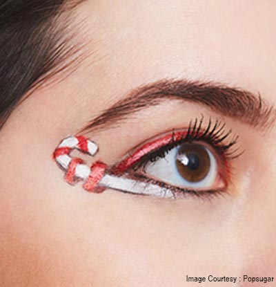 Candy cane Christmas eye makeup