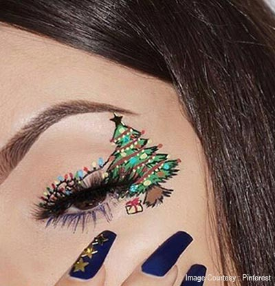 Christmas Tree Eye Makeup