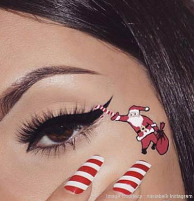 Eye makeup with hanging Santa