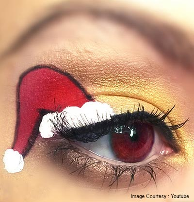 Santa's hat eye makeup