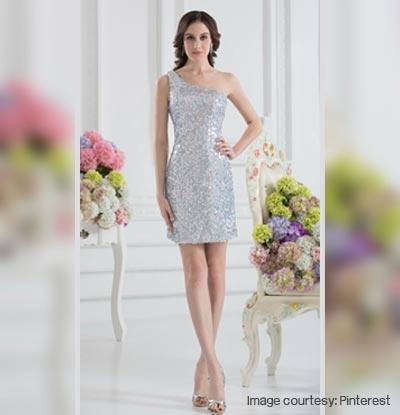 Glittered One-shoulder Dress