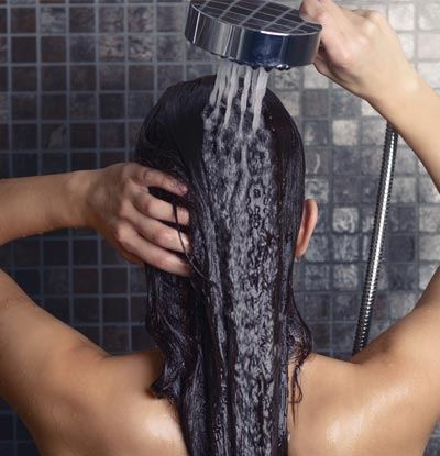 Rinse hair with cold water