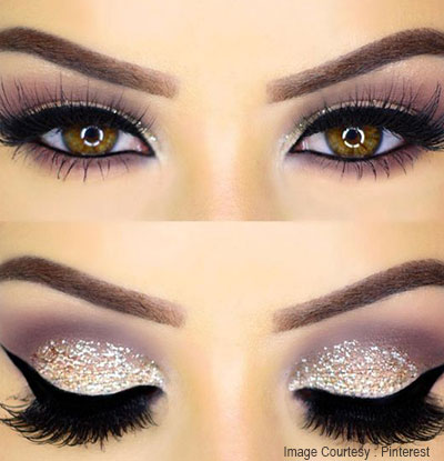 eyeliner look into a with glittered eyeliner