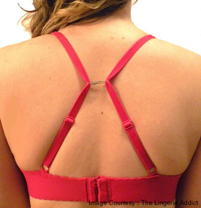 Hide bra straps using paper clip