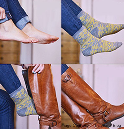 Tuck non-skinny jeans into boots using socks