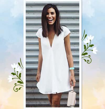 Deep Neckline Little White Dress