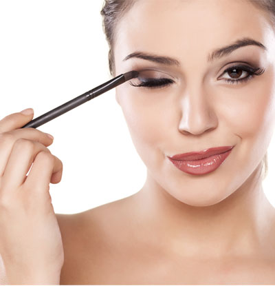 Use a damp brush to apply your eye shadows