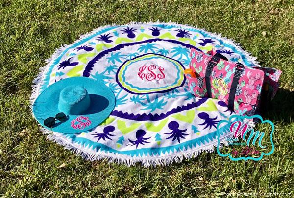 1. Round fringed beach towel