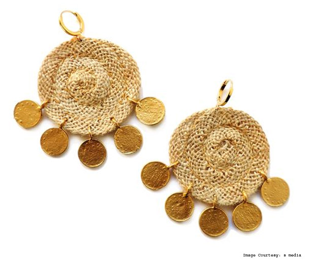 Elise Tsikis Earrings With Jute And Gold Discs