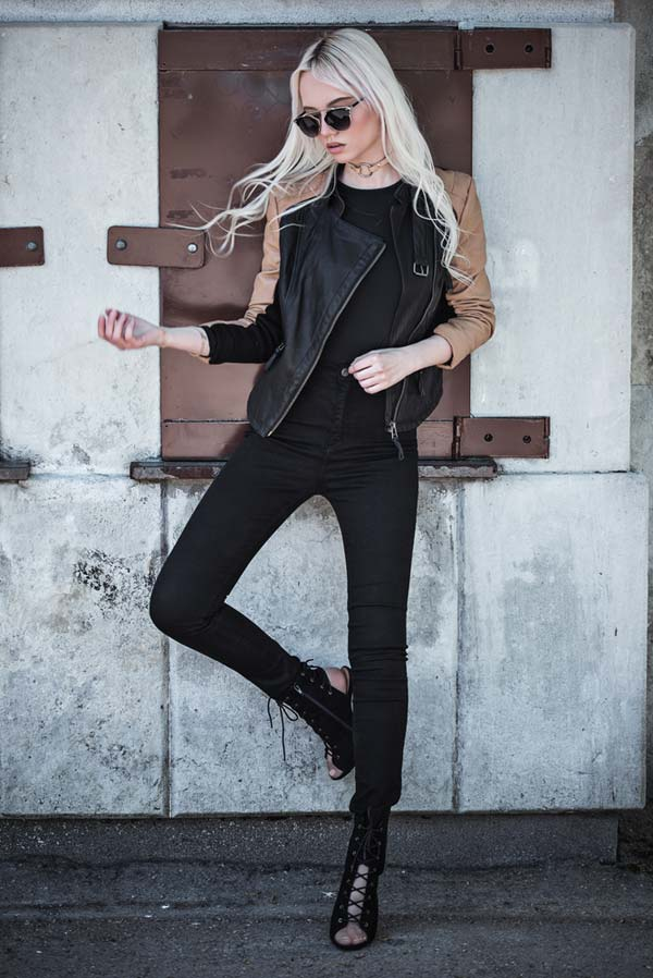Leather Jacket, Statement Black Booties