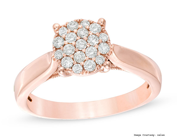Diamond Ring Tw 1/3 Princess-Cut 10K Rose Gold