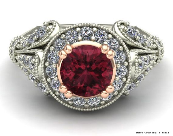 Pure White Vermilion, Rhodolite And Shell Ring