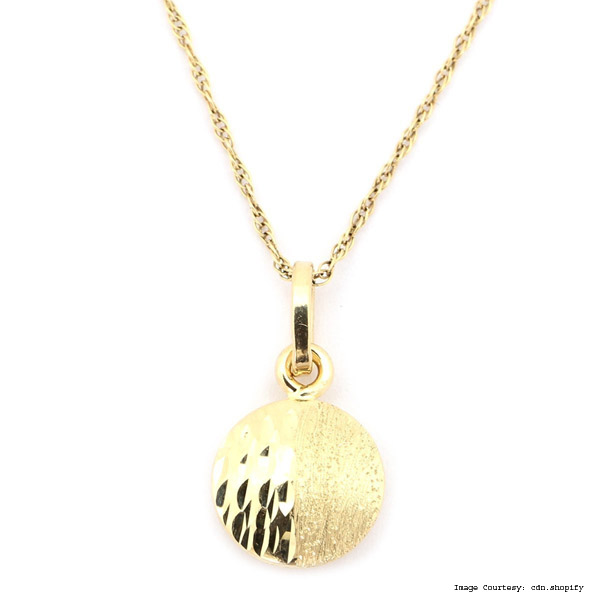 Split Disc Yellow Gold Necklace