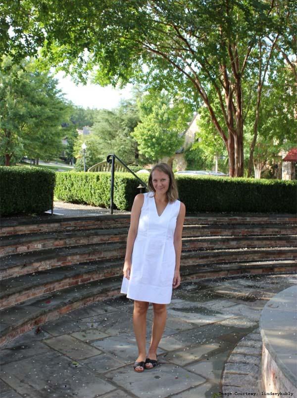 The Cotton Poplin Everlane Sleeveless Flare V-Neck Dress