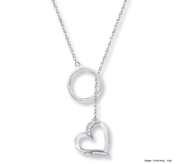 The Heart Lariat Diamond Accents Necklace Sterling Silver