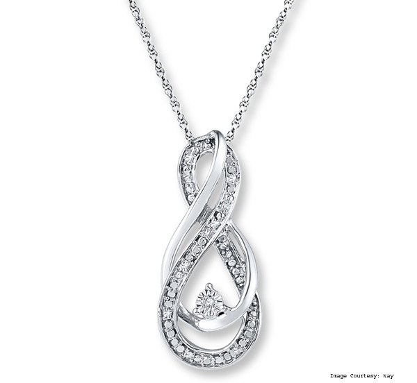 The Infinity Symbol Diamond Accents Necklace Sterling Silver