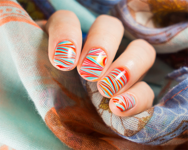 Water-Marbled Nail Art Designs