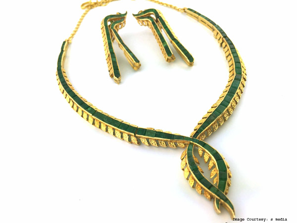 Yellow Gold, Emerald And Stone Necklace