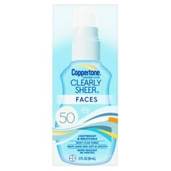 Coppertone CLEARLYSheer FACES Sunscreen Lotion SPF 50
