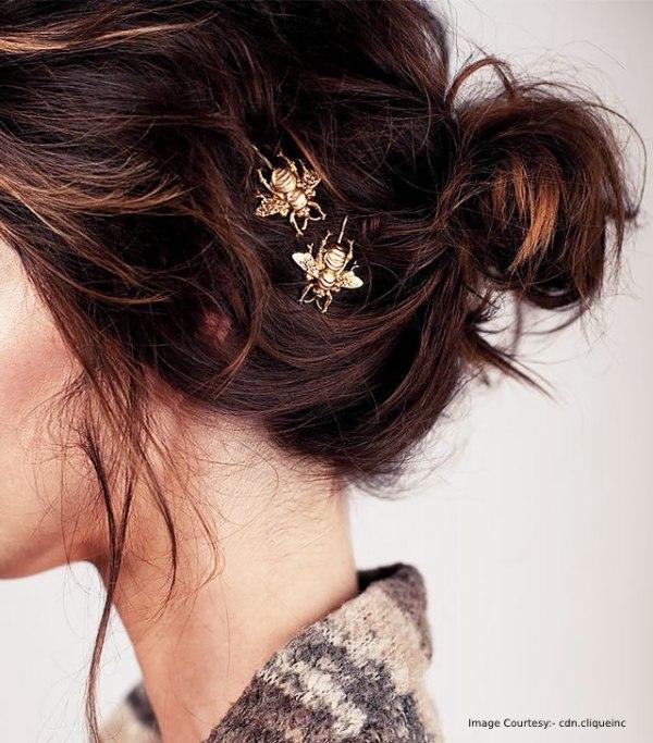 Golden Branch Hairpins