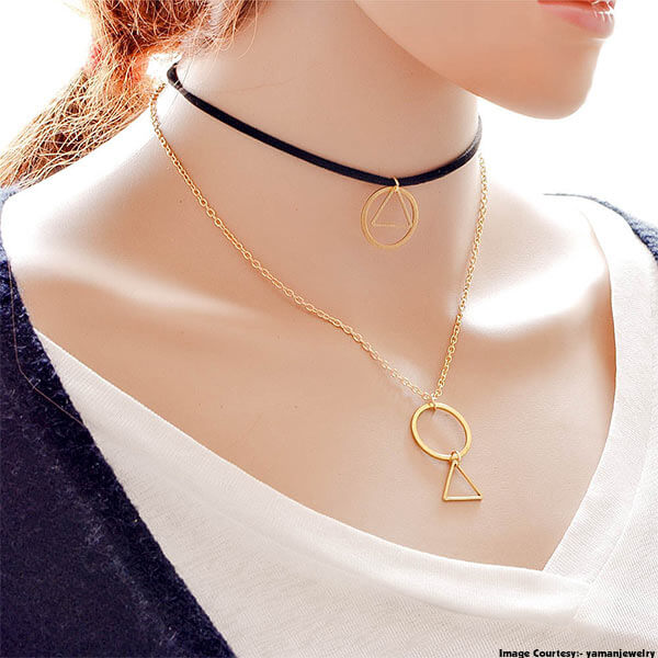 Triangle And Circle Pendant Necklace