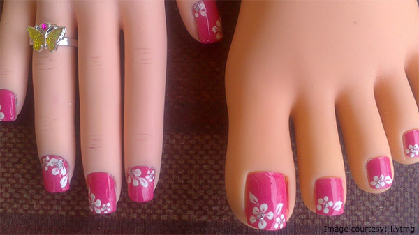 pink and white floral toe design
