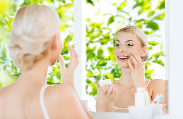 women caring for her skin