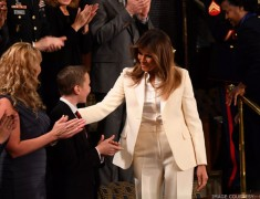 Melania Trump Goes To SOTU Speech With Guests, Not POTUS, Wearing All-White